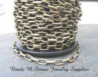 5 Feet Antique Brass 3.7mm x 7.2mm Flat Drawn Cable Chain