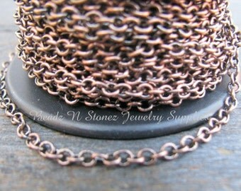 SPOOL Antique Copper Plated Brass 2.1 x 2.7mm Fine Cable Link Chain