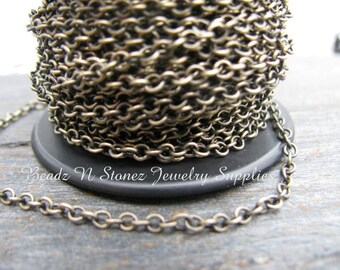5 Feet Quality Antique Brass 2.1 x 2.7mm Fine Cable Link Chain