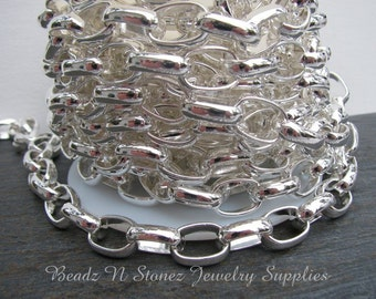 Silver Plated  11x15.5mm Oval Rollo Link Chain - Sold By The Foot