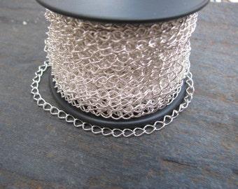 Spool - Bright Silver Plate 2.8mm x 4mm Curb Bulk Chain - 32 FT