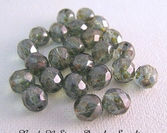 Green Lustre Faceted 8mm Round Czech Glass Beads - 20 PCS  CLEARANCE