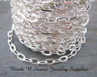 SPOOL  Bright Silver Plate 4.8mm x 8.5mm Flat Drawn Cable Chain - CLEARANCE