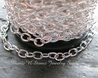 CLEARANCE  SPOOL - Bright Silver Plated Brass 4.6mm Drawn Cable Chain