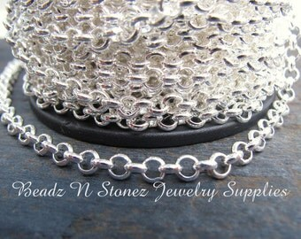 5 Feet Quality Bright Silver Plated Rollo Belcher Chain - 3.9mm Links