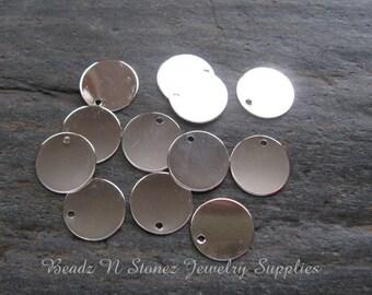 Bright Silver Brass 15mm Coin Charm Drop - 10 PCS
