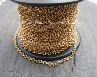 5 Feet Quality Gold Plated Brass 2.1 x 2.7mm Fine Cable Link Chain