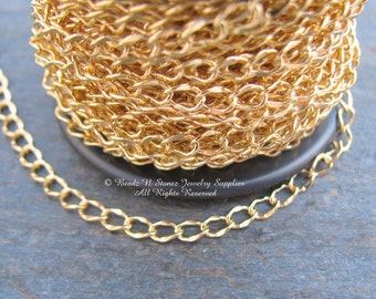 Gold Plated 3.5x5mm Hammered Curb Link Chain - By The 5 Foot Length