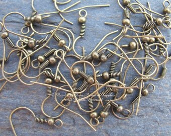 50 Pair Antique Brass Ball and Coil Earwires