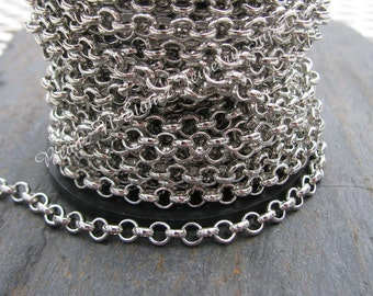 5 Feet - Quality Nickel Silver Plated Rollo (Belcher) Chain - 3.9 x 1.2mm Links
