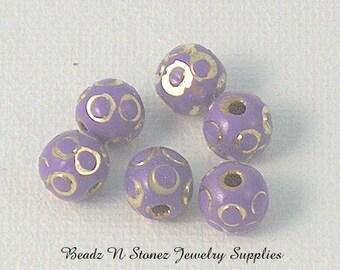 8mm Purple Lilac Lavender Brass Round Beads - 6 PCS