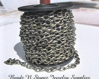 5 Feet Quality Antique Brass 4.6mm x 6.3mm Drawn Cable Chain