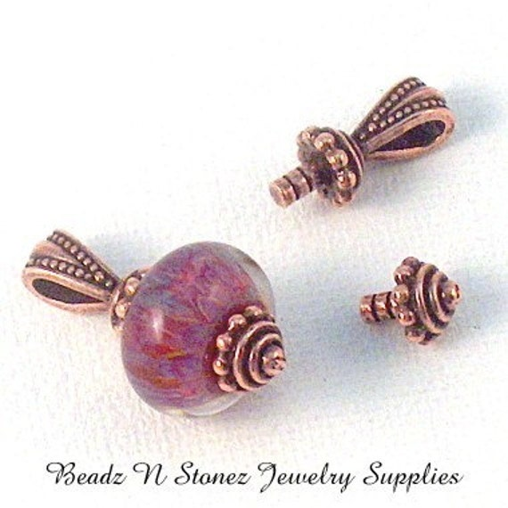 CLOSEOUT - Tierra Cast Copper Plated Bali Style Bead Capper Set For Lampwork Beads - LEAD SAFE