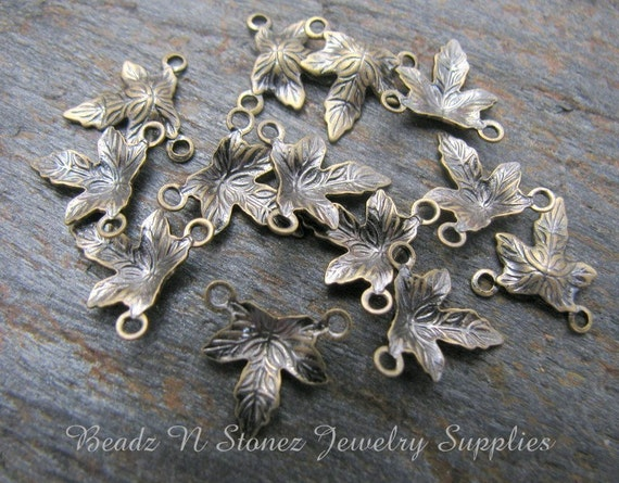 Brass Leaf Charm Drops, Antique Gold 10x10mm - 24 PCS  CLEARANCE