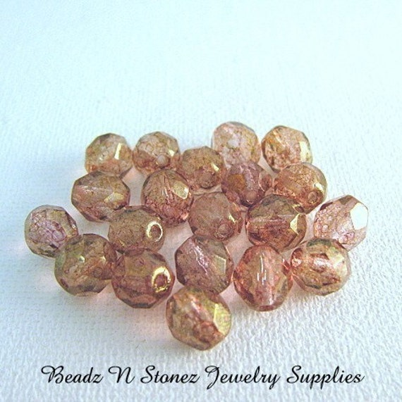 Rose Lustre Faceted 8mm Round Czech Glass Beads - 20 PCS