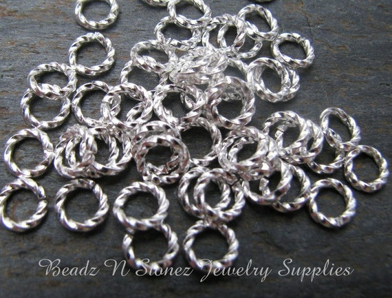 Bright Silver Brass 6mm, 16 Gauge Heavy Round Twisted Jumprings - 100 PCS