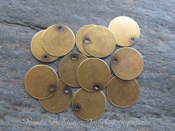 50 PC Bulk Pack Antique Gold Brass 15mm Coin Charm Drop