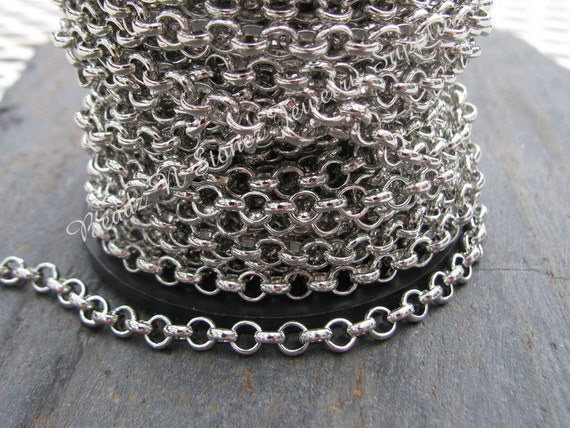 SPOOL - Quality Nickel Silver Plated Rollo (Belcher) Chain - 4.5mm Links