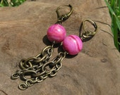 Pink Agate Stone Sphere and Antique Brass Dangle Earrings