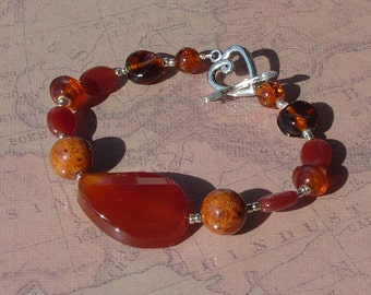 Carnelian Stone Red and Orange Beaded Bracelet with Heart and Arrow Toggle Clasp