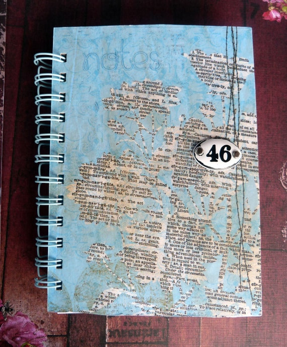 Journal Blue Script Numbered Metal Plate Handmade Spiral Bound
