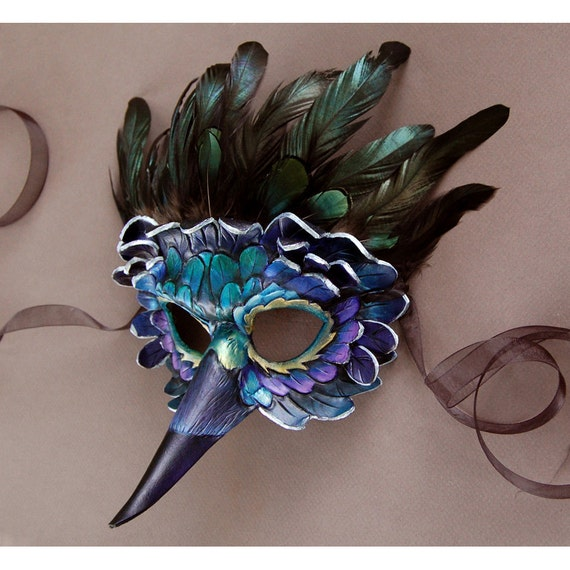 Iridescent Raven - Leather and Feather Mask