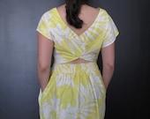 cheerful yellow print vintage sundress M