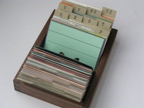 Small Black Walnut Address File Box