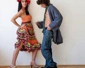 Flamenco Crochet Dress - Orange, Green, Purple
