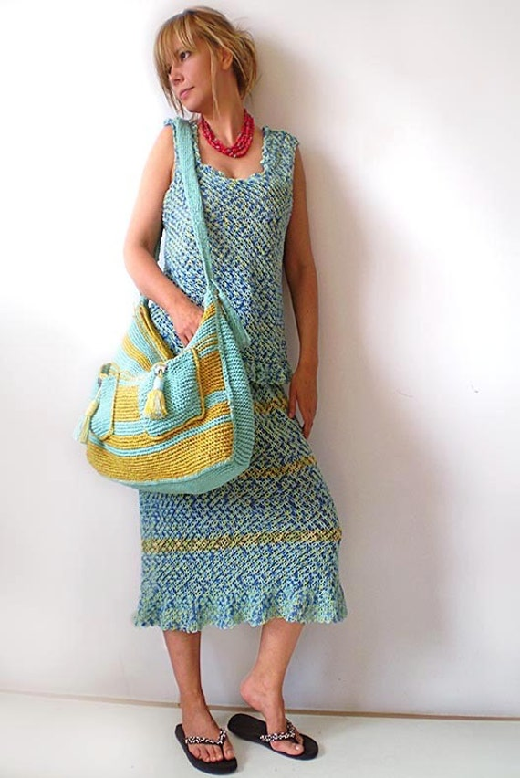 Plus Size Blue and Yellow Skirt and Top - Summer, Cotton, Crochet