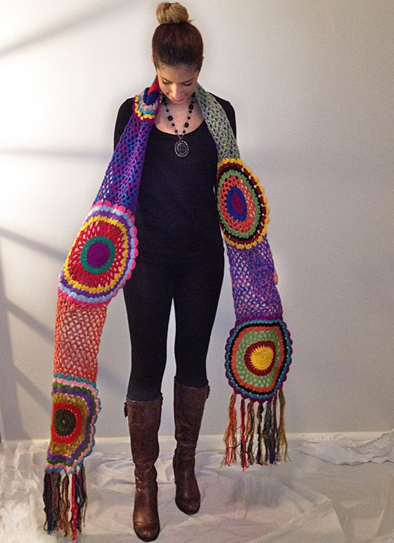 Multicolor Crocheted Circle Scarf