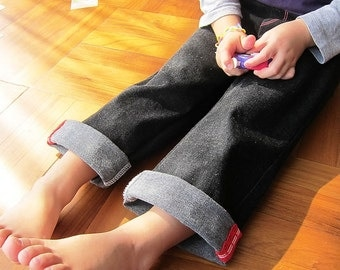 KIDS TROUSERS - PDF e Pattern - 3 in 1 Straight roll-up pants - Size 7Y