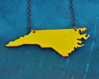 North Carolina Necklace with Lime Green Enamel and Blackened Silver Chain