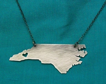 NC Necklace with Heart over Asheville Buncombe County in either finish