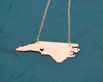 NC Necklace with Heart over Charlotte in either finish