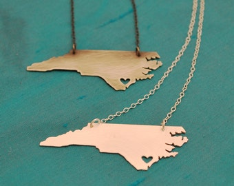 NC Necklace with Heart over Wilmington in either finish
