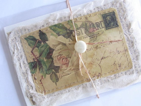 Romantic Note Card with vintage rose