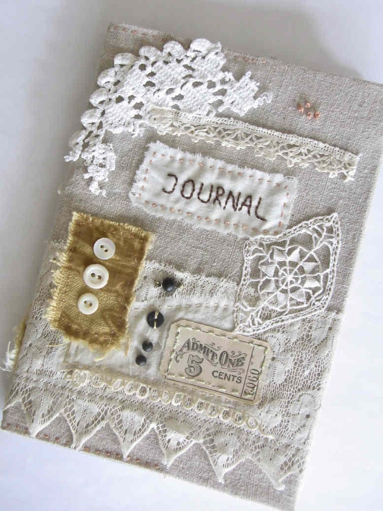 Handmade Fabric Book Covers : Handmade journal cover including notebook