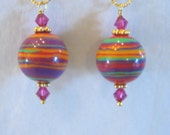 Caliente Drops,  Rainbow Calsilica Goldfilled Earrings
