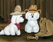 Bichon Cowboys - Bichon Frise Dogs limited art print