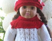 For American Girl Doll Handknit sweater hat set