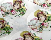 Cottage Garden Girl with Roses Stickers