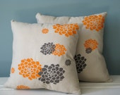 Orange and Grey Hens and Chicks Print Pillow