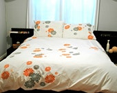 White Duvet-Queen Size with orange and grey Hens & Chicks print
