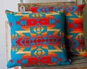 Pendleton Wool Pillow-Condensed print in Turquoise, Red and Yellow