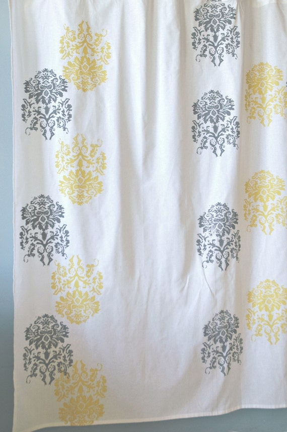 White Yellow And Grey Shower Curtain With Mantra By