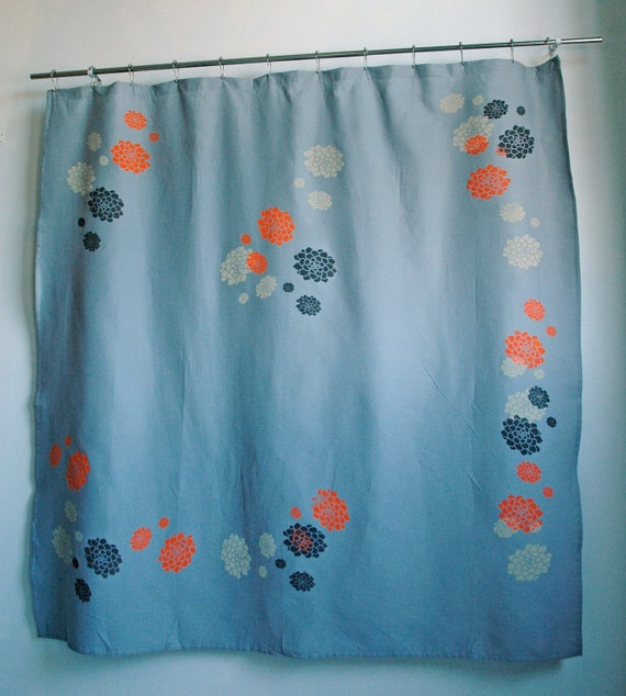 Items Similar To Grey Shower Curtain With White Orange And Grey Hens