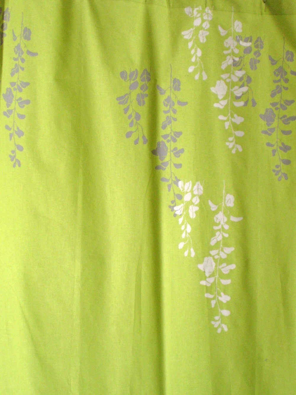 lime green curtain with wisteria print by appetitehome on etsy