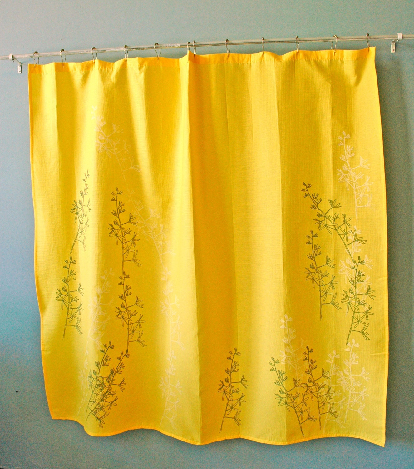Yellow Shower Curtain With Yucca Print By Appetitehome On Etsy