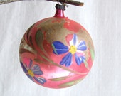 vintage pink ornament with purple flowers